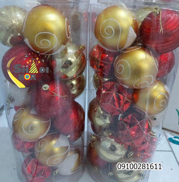 گوی قرمز طلایی طلقی - فروش به صورت تکی و عمده