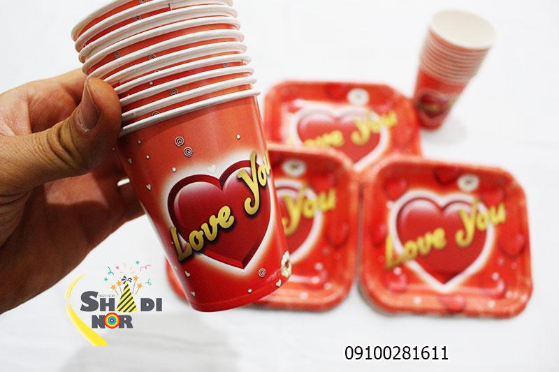 لیوان کاغذی ست بشقاب لیوان تم لاو - فروش عمده تم ولن تاین کیفیت بالا خرید از تولید کننده انواع تم تولد
