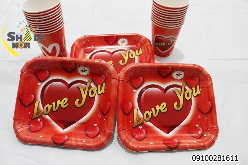بشقاب کاغدی ست بشقاب لیوان تم لاو - فروش عمده تم ولن تاین کیفیت بالا خرید از تولید کننده انواع تم تولد