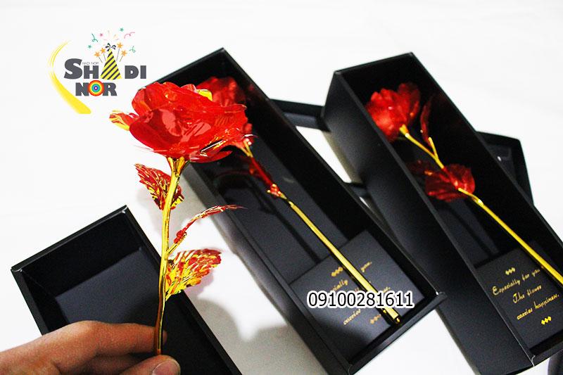 فروش گل فلزی رنگین کمانی 7 رنگ قرمز محصول خاص لاکچری ولنتاین برای فروش و خرید عمده