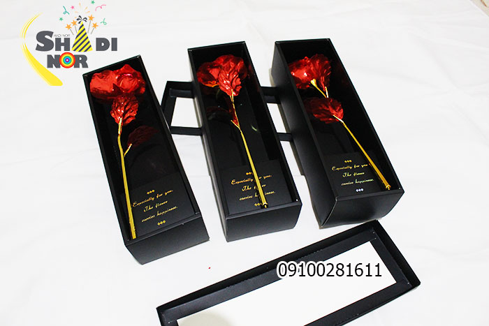 گل فلزی رنگین کمانی ولنتاین جعبه مشکی فروش عمده لوازم کادویی و ولن تاین