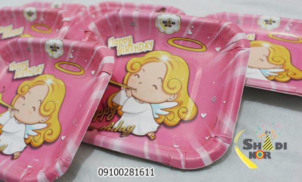 بشقاب تولد تم فرشته کوچولو_فروش عمده آنلاین بشقاب تولد تم فرشته کوچولو