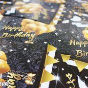 ریسه تولد تم مشکی بالن طلایی_خرید عمده آنلاین ریسه تولد تم مشکی بالن طلایی