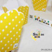 فروش عمده انواع پاپکرن تولد تم خالدار زرد سفید