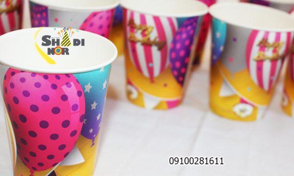 لیوان تولد تم بالن رنگی_فروش عمده آنلاین لیوان تولد تم بالن رنگی