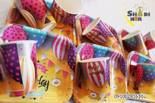 بشقاب لیوان تولد تم بالن رنگی_فروش عمده ست بشقاب لیوان تولد تم بالن رنگی