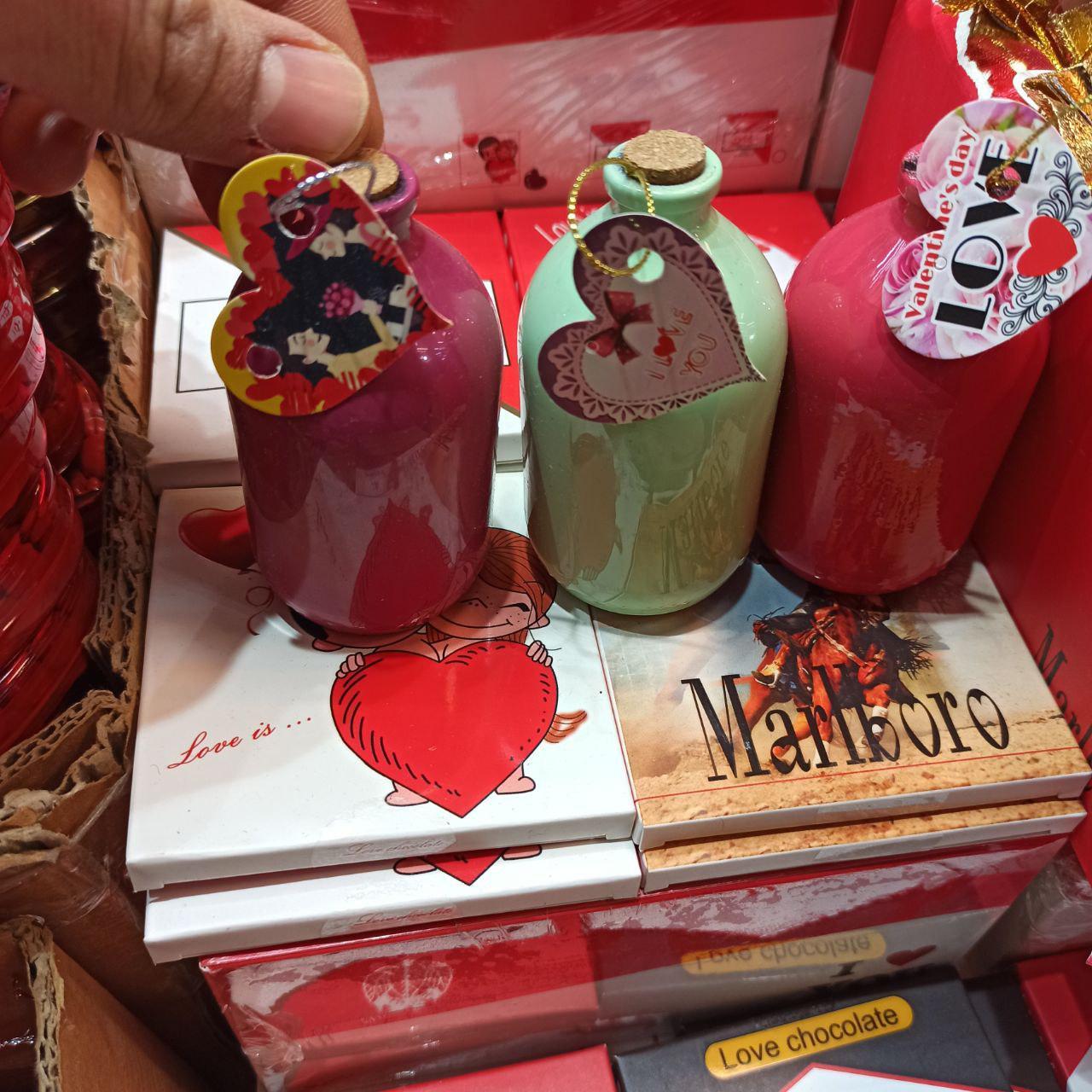 خرید عمده لوازم ولنتاین و کادویی شکلات ولنتاین طرح بطری